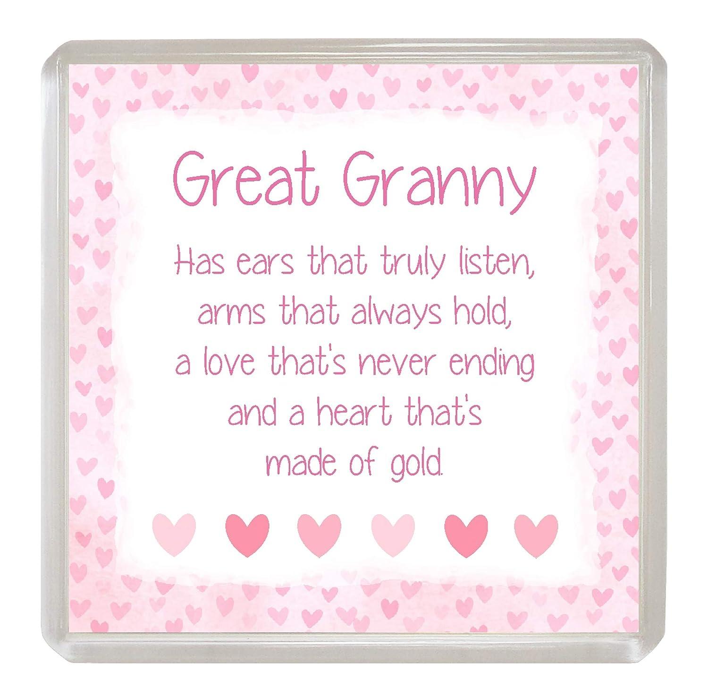 GREAT-NANNY Coaster Drinks Mat Sentimental Verse Fun Novelty Present Gift Idea