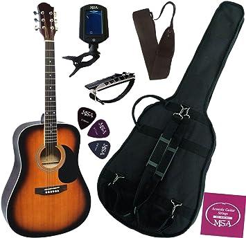 MSA - Pack de guitarra electroacústica (6 accesorios), sunburst ...