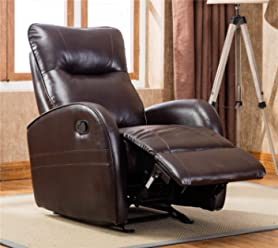 Recliner Sofa Chair Breath Leather Faux Leather (Brown) Modern Recliner with Glider for Living