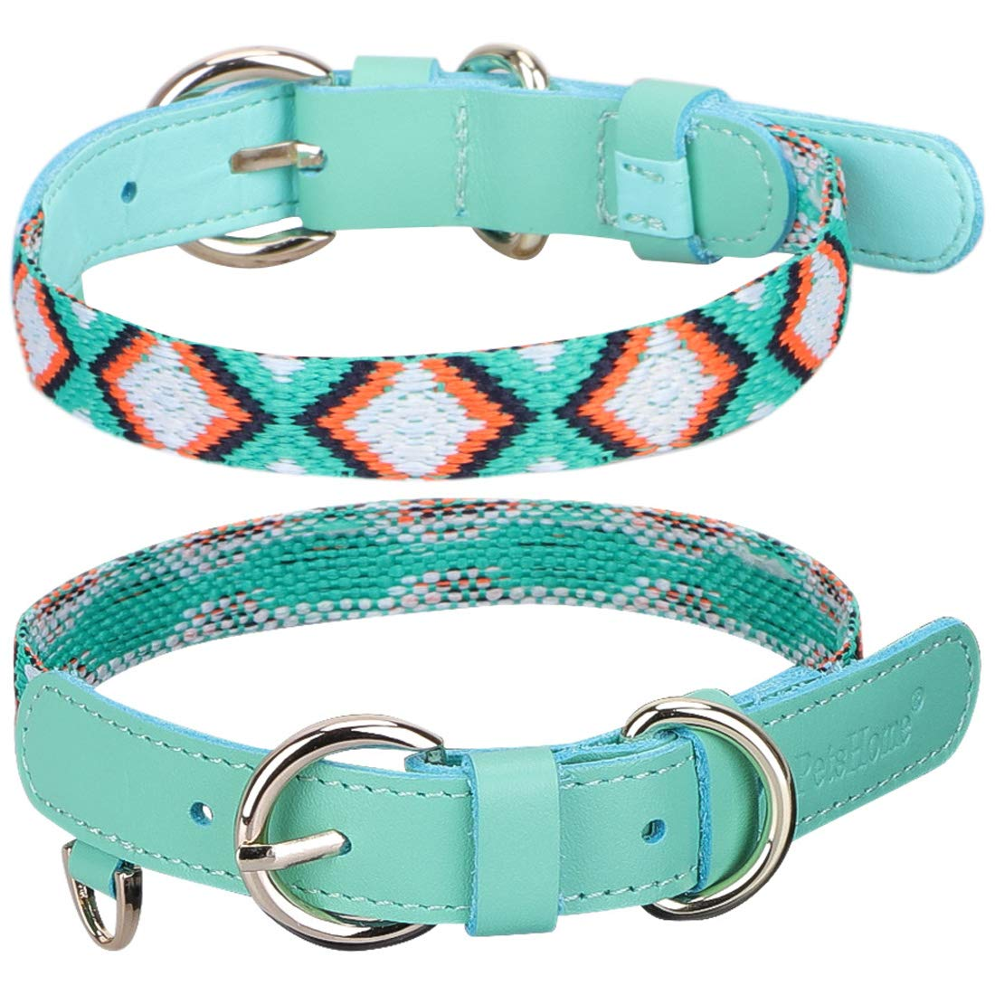C-Mint Green S C-Mint Green S PetsHome Dog Collar, Cat Collar, [Genuine Leather][colorful Canvas] Woven Belt Adjustable Collars for Small Dog and Cat Small Mint Green