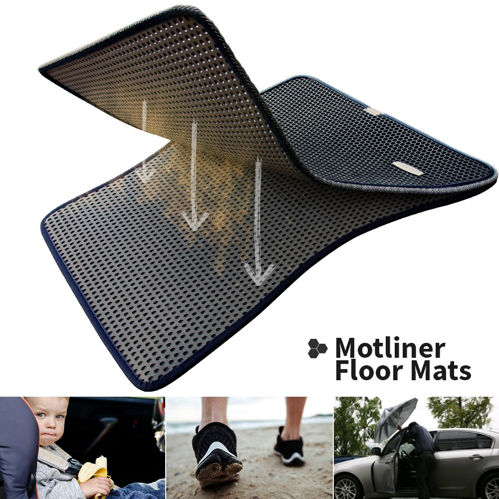 Motliner Floor Mats EVA Material All Weather Heavy Duty Protection Easy to Clean. Custom Fit with Dual Layered Honeycomb Design for Chevrolet Silverado GMC Sierra 1500 2500 3500 Crew Cab 2015-2018