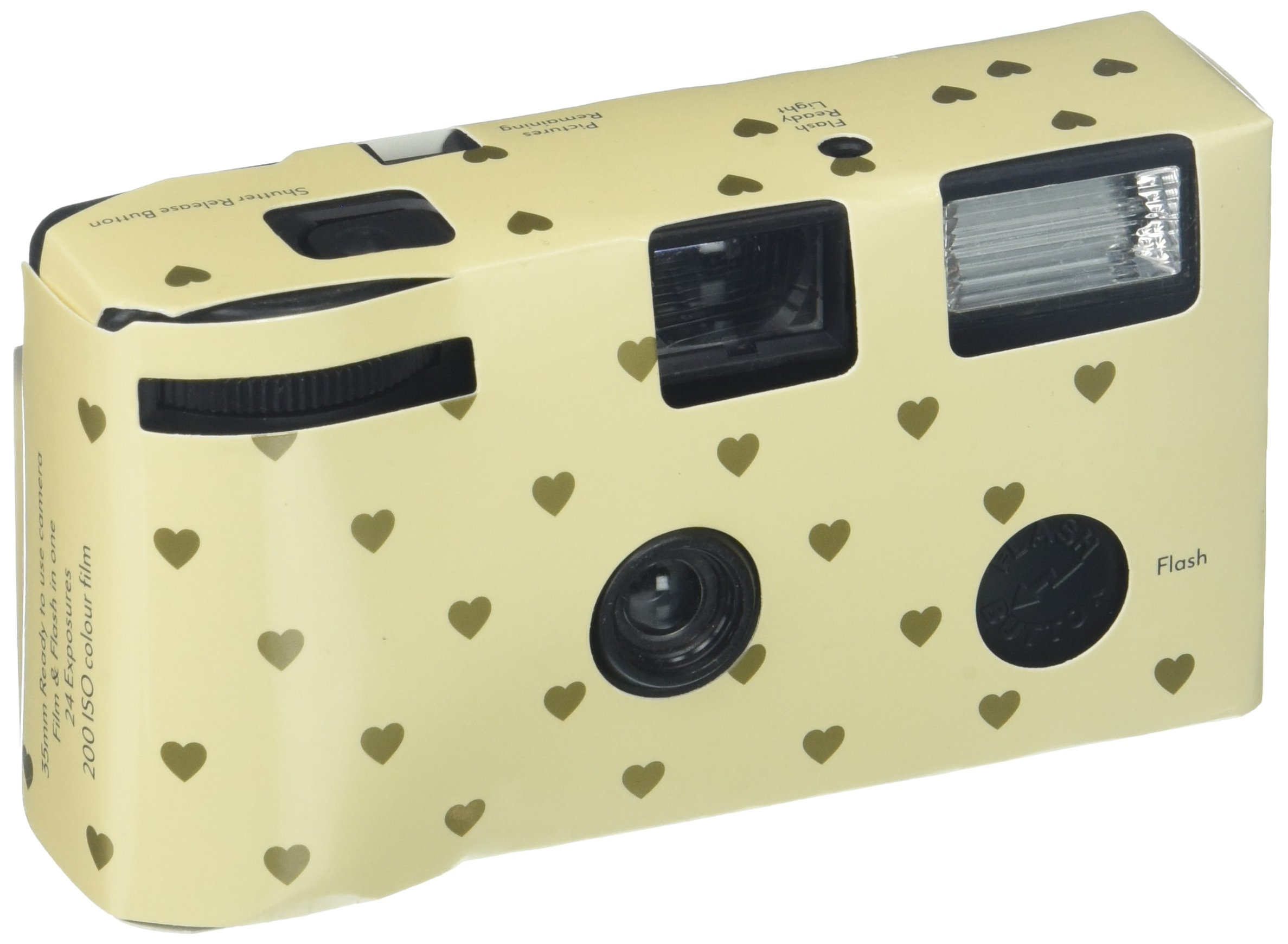 Single Use Camera - Ivory and Gold Hearts Design by Weddingstar Inc.