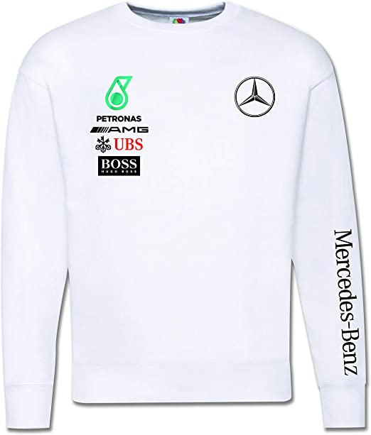 Generico Felpa Girocollo Ispirata Luis Hamilton UBS Boss Mercedes Benz Petronas Hoodie LH44 Motors Car Macchine F1 Racing Corse