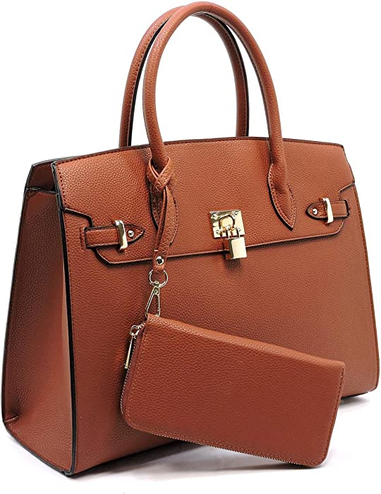 6a1507bd8613 Deluxity Large Padlock Accent Structured Day Satchel + ... - Amazon.com