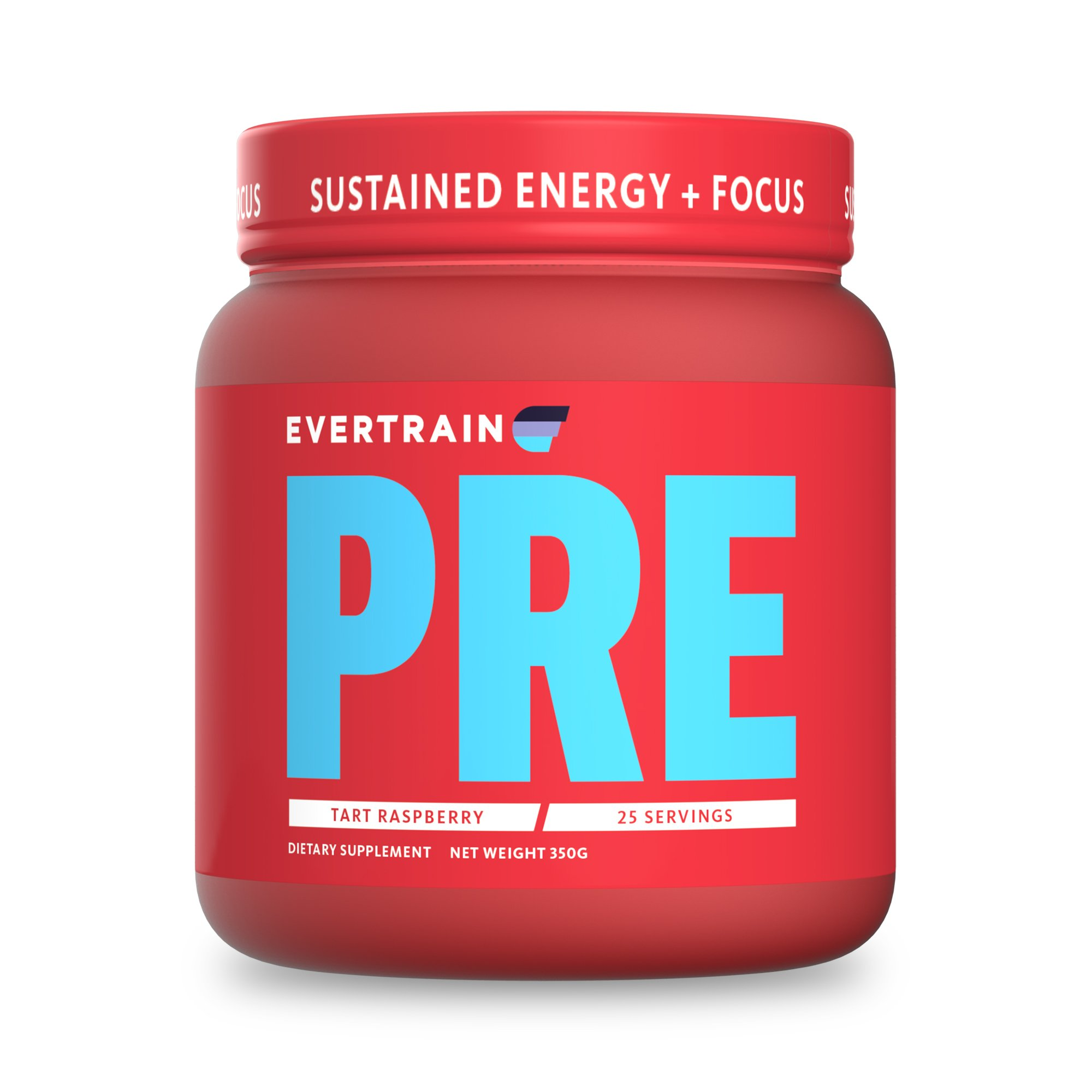 EVERTRAIN PRE - Premium Clean Pre Workout Powder With Natural Flavors and Colors - Strength, Energy, Focus, and Muscle Building Supplement - Tart Raspberry - 25 Servings