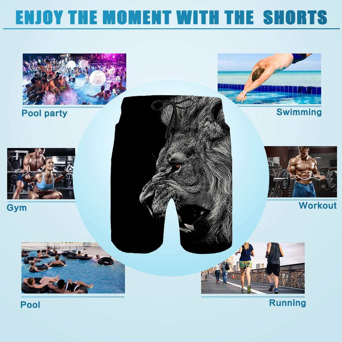 TUONROAD Maillot de Bain Homme 3D Print Ananas Chat Graphic Short de Bains Plage S/échage Rapide Summer Short de Plage Surf Beach Shorts avec Cordon R/églable /Élastique avec Doublure en Maille S-XXL