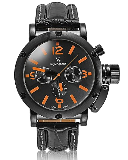 Moda Nueva llegada Cinturones de cuero con estilo de lujo marcas relojes Hombres de negocios V6 sencilla y elegante Relojes de mano Naranja: Amazon.es: ...
