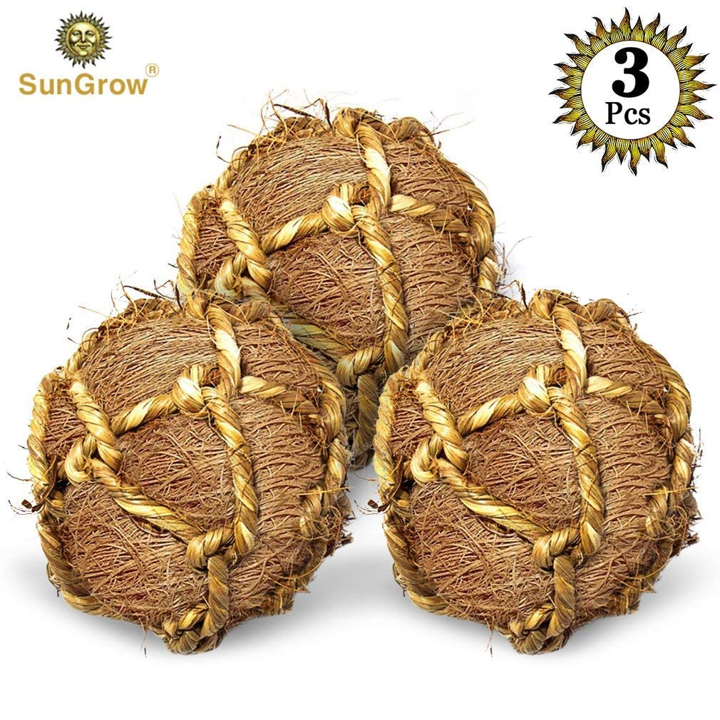 SunGrow 3 Coconut Fiber Balls for Rabbit Improves Dental Health -100% Natural Chew Toy- Provides Hours of Stimulation -Environment Friendly, Stress Reliever -Ideal for Bunny, Chinchilla & Kitten