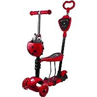 Profiseller Monopattino per Bambini - 5 in 1 con Sedile Rimovibile e Manubrio Regolabile -Regolabile Staccabile Scooter con Ruote Illuminate Regalo Perfetto per Ragazze da 2 a 8 Anni (Rosso)