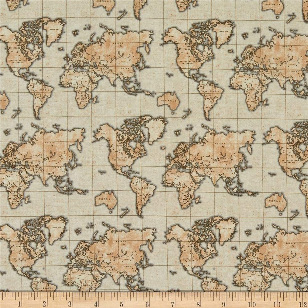 World Map Fabric By The Yard World Map Atlas Fabric Refrence