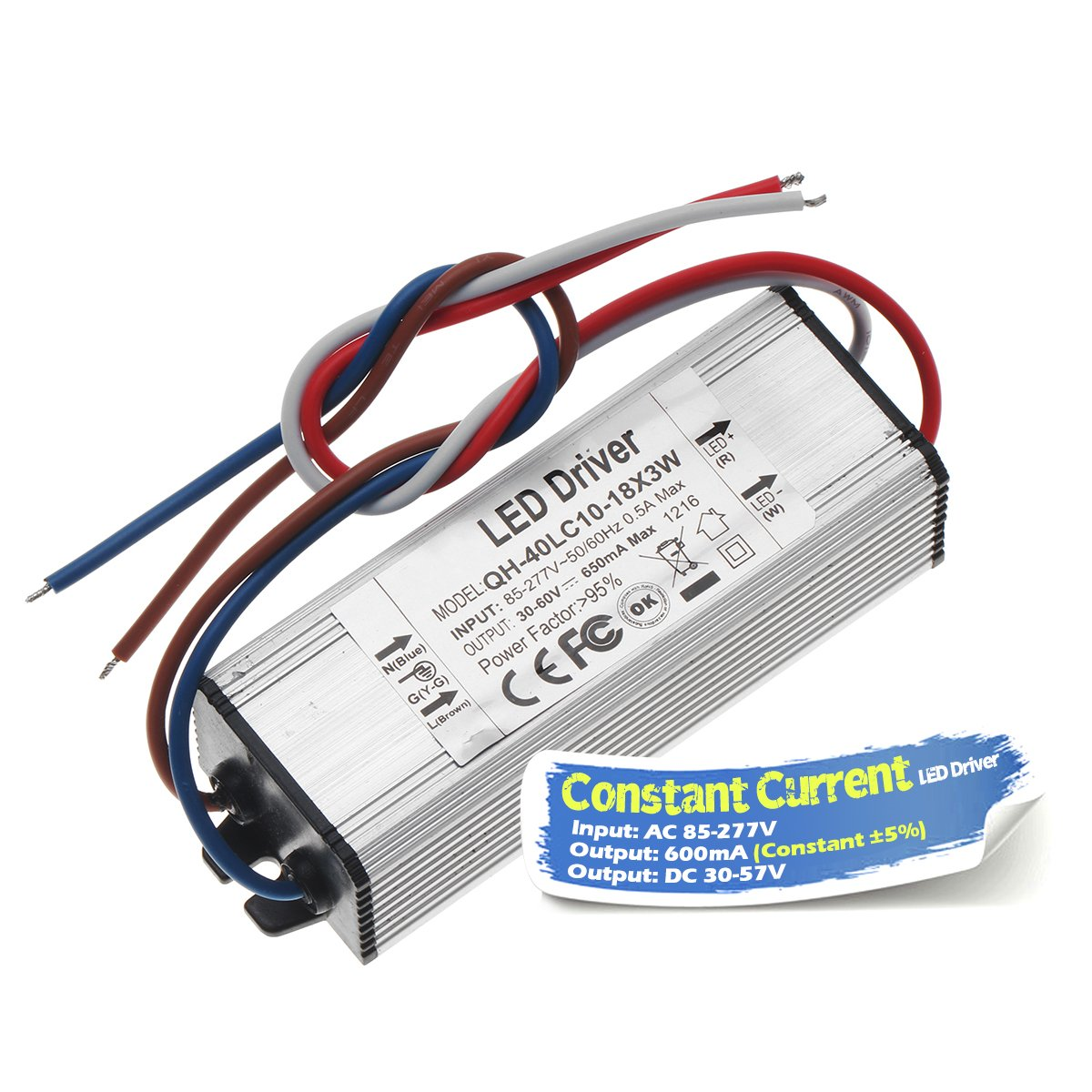 Chanzon Led Driver 600ma Constant Current Output 30v 57v Input 85 Together With 10 Watt Circuit On High 277v Ac Dc 18x3w 20w 30w 36w 45w 54w Ip67 Waterproof Power Supply 600 Ma