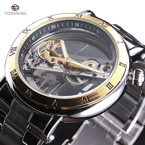 Forsining lujo marca Golden puente esqueleto automático mecánico correa de acero inoxidable reloj de pulsera de los hombres: Amazon.es: Relojes