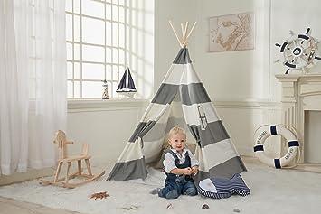Dako Living Kids Teepee Gray, 100% Natural Cotton Canvas Teepee Tent For  Kids,