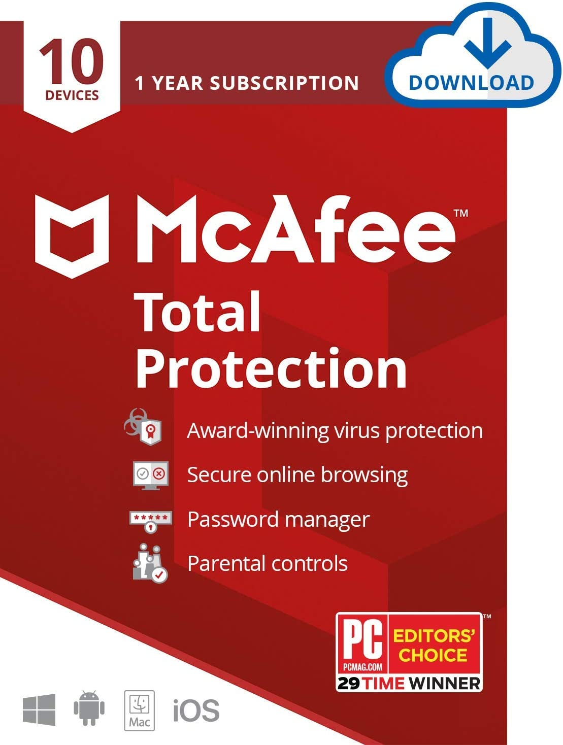 McAfee Total Protection 2021, 10 Device, Antivirus Internet Security Software, Password Manager, Parental Control, Privacy, 1 Year - Download Code