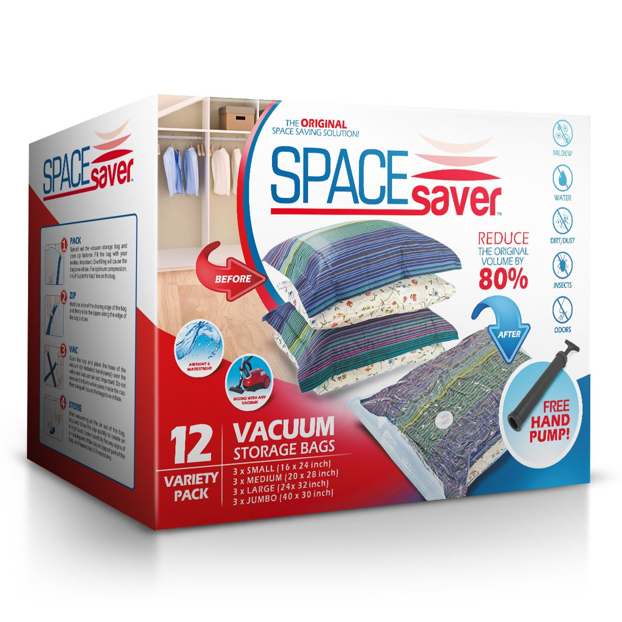 Spacesaver Premium Vacuum Storage Bags (3 x Small, 3 x Medium, 3 x Large, 3 x Jumbo) (80% More Storage Than Leading Brands) Free Hand Pump for Travel! (Variety 12 Pack) by Spacesaver
