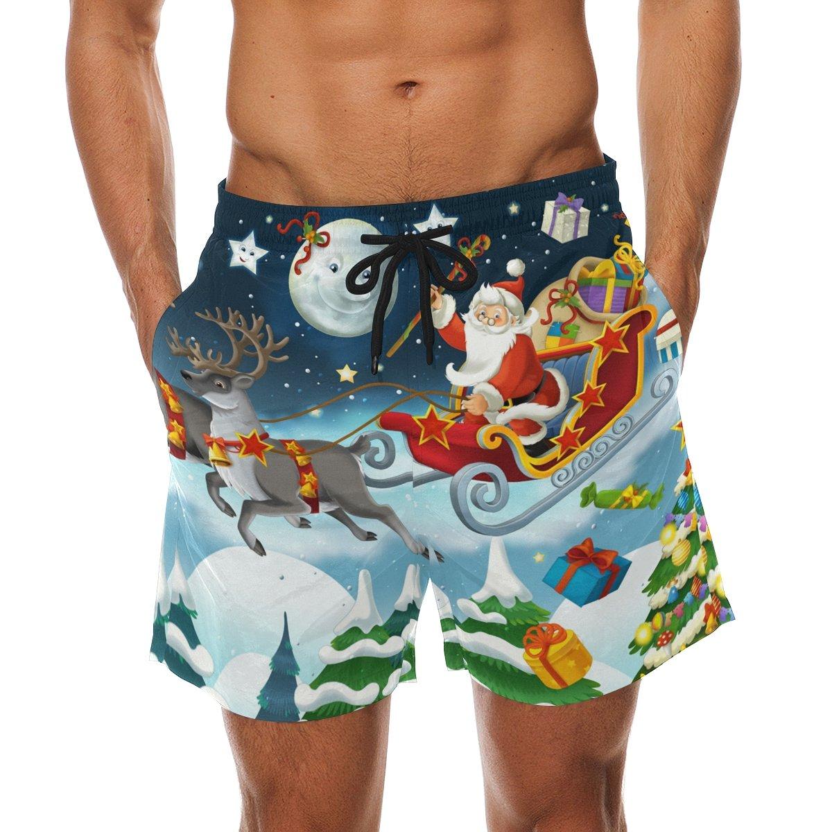 COOSUN Men's Christmas Santa Claus Beach Board Shorts Quick Dry Swim Trunk