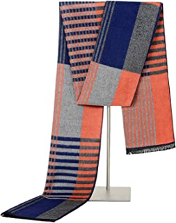 ANAZOZ Seda Bufanda para Hombre Niño Grid Rayas 180cm Otoño Invierno Bufandas de Moda ANAZOZ-Q30A1111