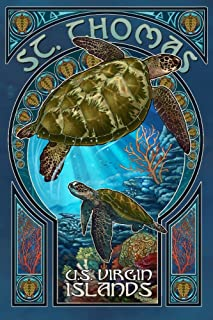 product image for St. Thomas, U.S. Virgin Islands - Sea Turtle Art Nouveau (16x24 Giclee Gallery Print, Wall Decor Travel Poster)