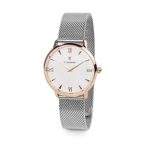 Reloj mujer extra-plate chapado oro rosa pulsera malla Milanaise acero