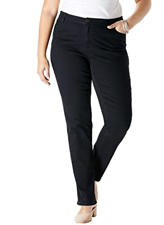 b0ac9bbe5a3 Roamans Women s Plus Size Petite Straight Leg Jean with Invisible Stretch -  Black Denim