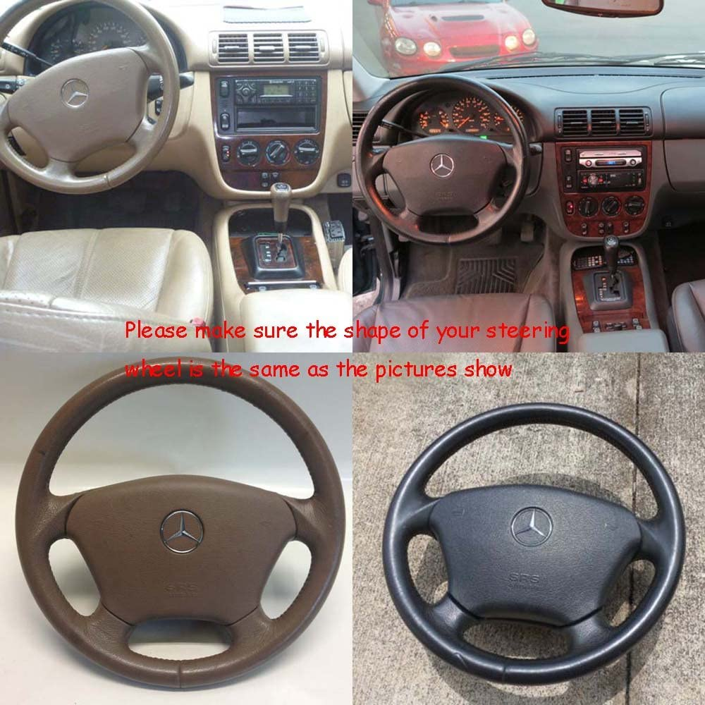 Perforated Cover Steering Wheel on Leather Black for Mercedes ML W163 Smooth