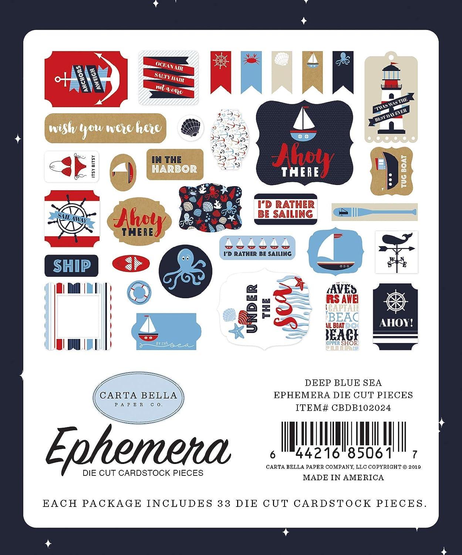 Carta Bella Paper Company CBDB102024 Tiefblaues Meeresephemera marineblau wei/ß rot
