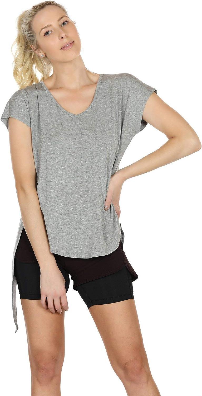 icyzone Camiseta Deportiva de Manga Corta de Espalda Abierta para Mujer Pack de 2