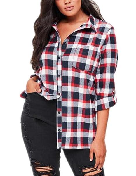 Kerlana Camiseta Mujer Solapa Mangas Largas T-shirt Cuadros Camisas Hipster Blusa Elegante Ocasionales: Amazon.es: Ropa y accesorios