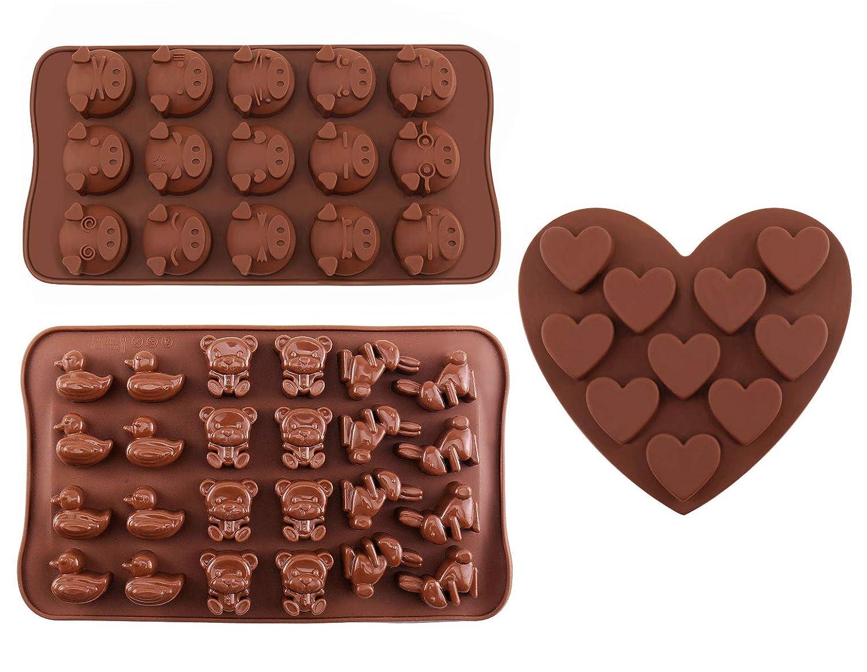 Moldes para chocolate - de silicona Joyoldelf Candy Jelly dulces moldes con diseño de animales y corazón, fácilmente hacer caseras Chocolate, ...