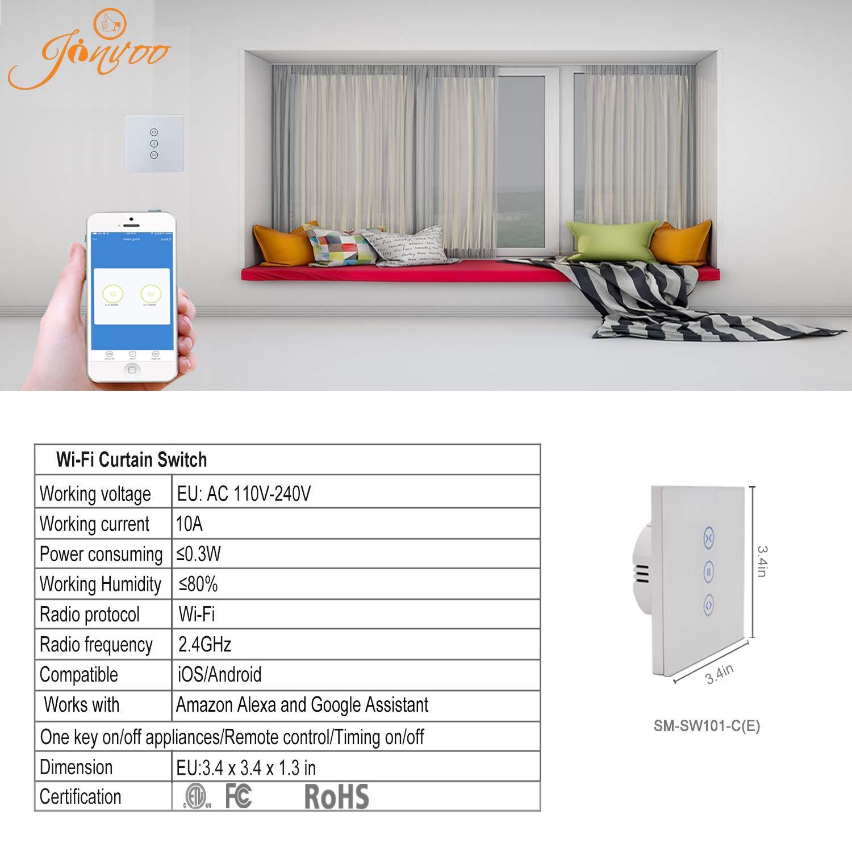 varias veces compatible con iOS//Android Jinvoo WiFi EU Curtain Switch controlador Roller Shutter Switch necesita 1 conductor neutro. Soporta 2,4 GHz trabaja con Alexa Echo y Google Home