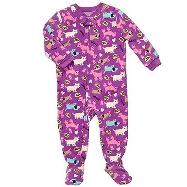 Oshkosh Toddler Girls Zip Up Footed Microfleece Purple Blanket Sleeper Woof Doggie (5T)