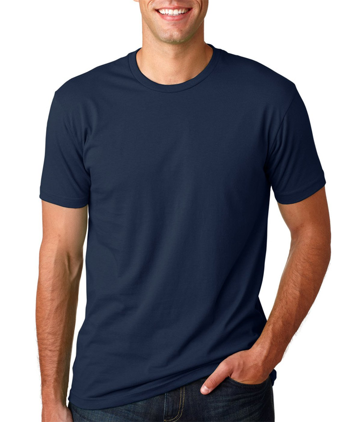 Next Level Mens Premium Fitted Short-Sleeve Crew T-Shirt - Midnight Navy + Black (2 Pack) - Small by Next Level