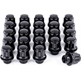 Orion Motor Tech 24-Piece M12x1.5 Lug Nuts Black with Hex Tuner, 1.5 inches Length with Mag Seat and Washer, Compatible…