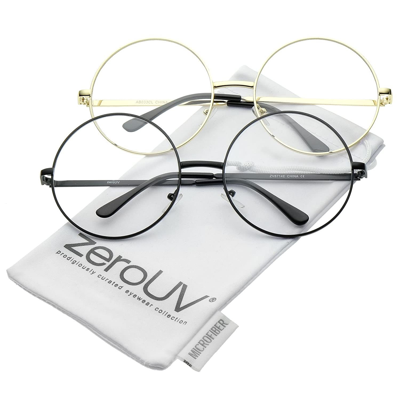111d53c715e Amazon.com  Oversize Metal Frame Slim Temple Clear Lens Round Eyeglasses  60mm (2-Pack