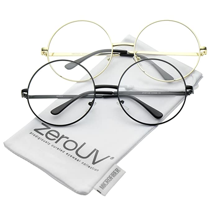 a1d08ad39e Oversize Metal Frame Slim Temple Clear Lens Round Eyeglasses 60mm (2-Pack