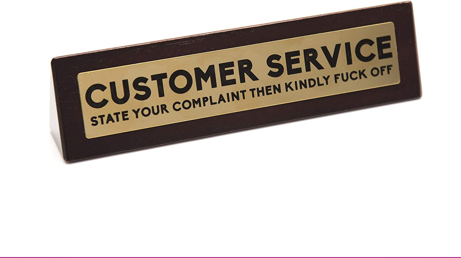 Boxer Gifts 'Customer Service - State Your Complaint Then Kindly Fck Off' Novelty Wooden Desk Warning Sign   Funny Office Humor Gift For Colleague Or Boss   4.5cm x 17.5cm