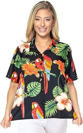 LA LEELA Likre Ropa de Playa de Playa del Caribe de la Hoja Mujeres de la Manga Corta de la Camisa Hawaiana: Amazon.es: Ropa y accesorios