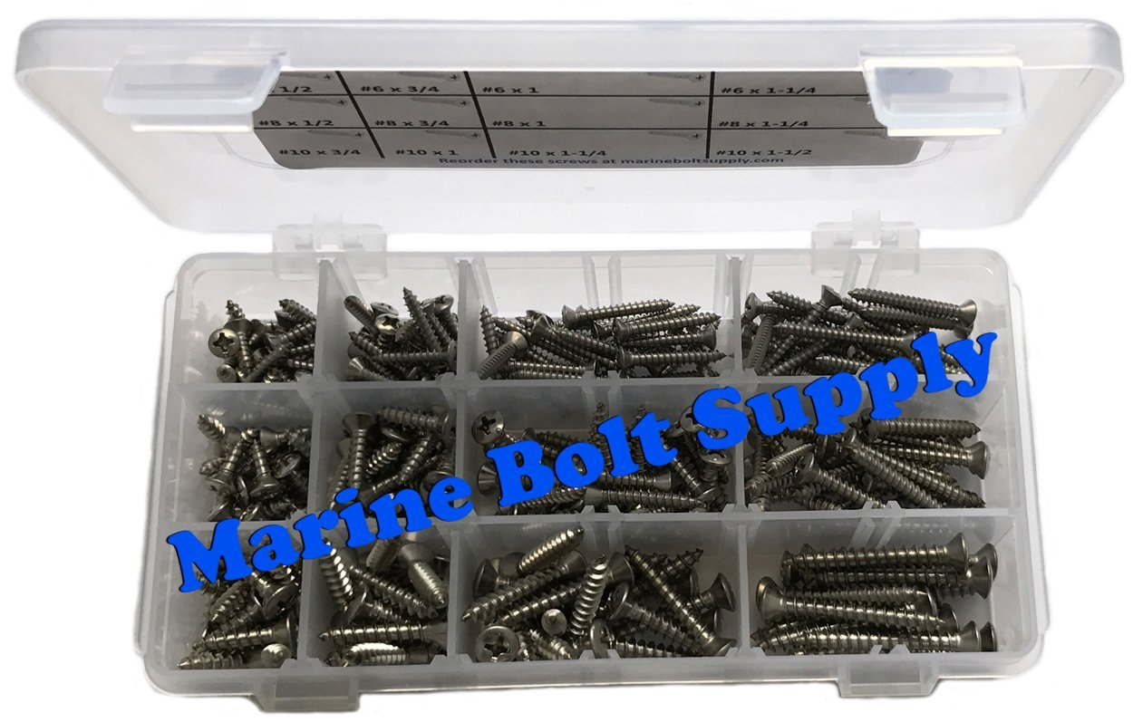 Type 316 Stainless Steel Phillips Drive Oval Head Sheet Metal Screw Kit - Marine Bolt Supply 6-111915 by Marine Bolt Supply (Image #2)