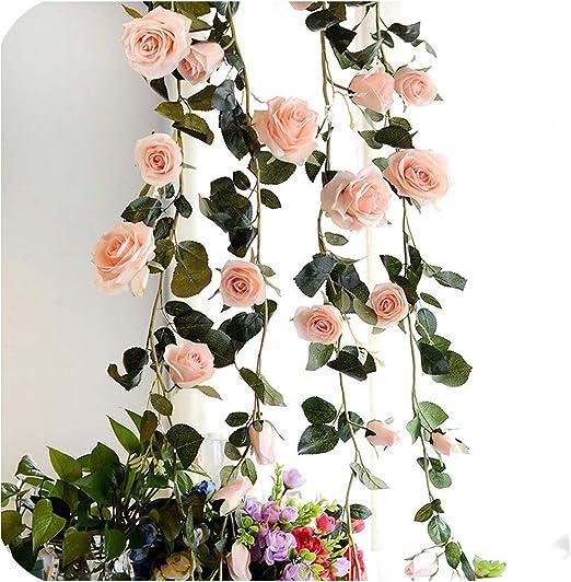 Pretty Pink Sparkle Leaf Garland Wedding Foliage Decoration or Christmas 180cm