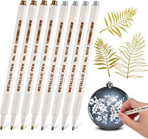 Gold and Silver Metallic Marker Pens, Metallic Permanent Markers Suitable for Cards Writing Signature Lettering Metallic Painting Pens (8)