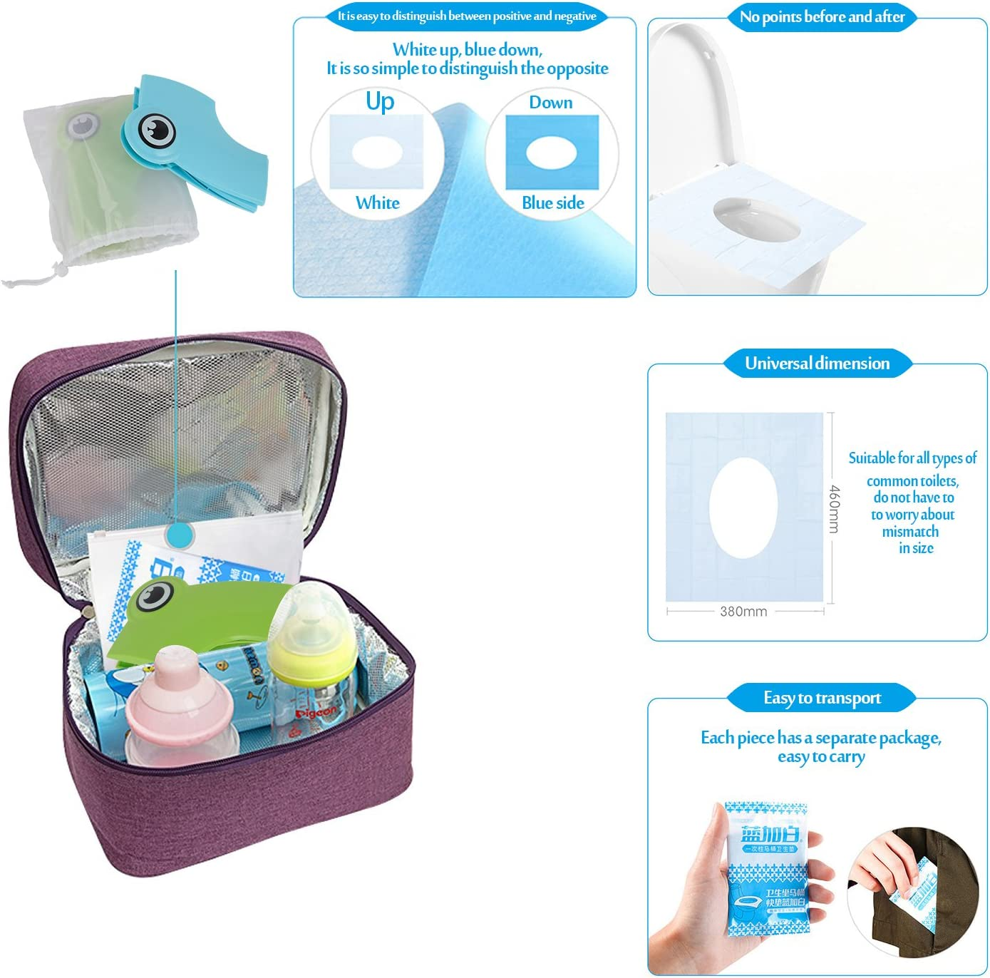 Non Slip Silicone Pads Travel Portable Folding Potty Training Toilet Seat Cover Suitable for Kids Baby Boys and Girls,with 10 Packs Disposable Toilet Seat Covers and Potty Training Recording Card