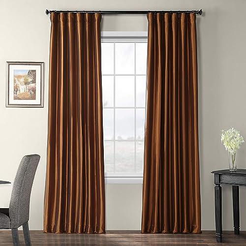 HPD Half Price Drapes PTCH-BO209-108 Blackout Faux Silk Taffeta Curtain 1 Panel , 50 X 108, Copper Brown