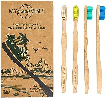My Green Vibes - Cepillo de dientes de bambú, 4 cepillos de dientes de madera para adultos, tamaño mediano, suave, colorido, cerdas orgánicas, naturales, biodegradables, mango de madera, paquete familiar reciclable: Amazon.es: