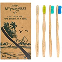 Bamboo toothbrushes from My green Vibes - 4 adult wooden toothbrush pcs - BPA Free Medium soft bristles - Organic, Natural, Biodegradable wood handle - Eco friendly family recyclable pack - For travel