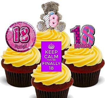 18 Geburtstag Madchen Violett Essbare Cupcake Topper Stand Up