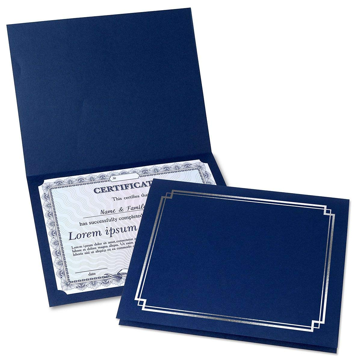 Classic Blue Certificate Folder with Silver Border - Set of 25, 9-1/2'' x 12'' Folded with Diecut Corners, 80 lb. Linen Cover Stock, Document Cover, Diploma Holder, Letter Sized Awards, Congratulations by Fine Stationery