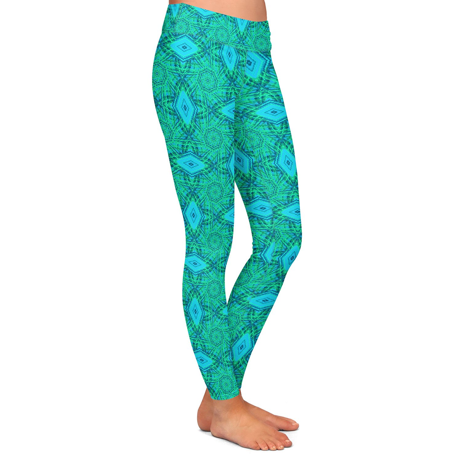 Athletic Yoga Leggings from DiaNoche Designs by Ruth Palmer Teal Diamonds