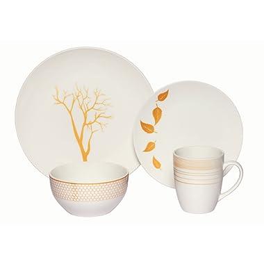 Melange Coupe 32-Piece Porcelain Dinnerware Set (Gold Nature)   Service for 8   Microwave, Dishwasher & Oven Safe   Dinner Plate, Salad Plate, Soup Bowl & Mug (8 Each)