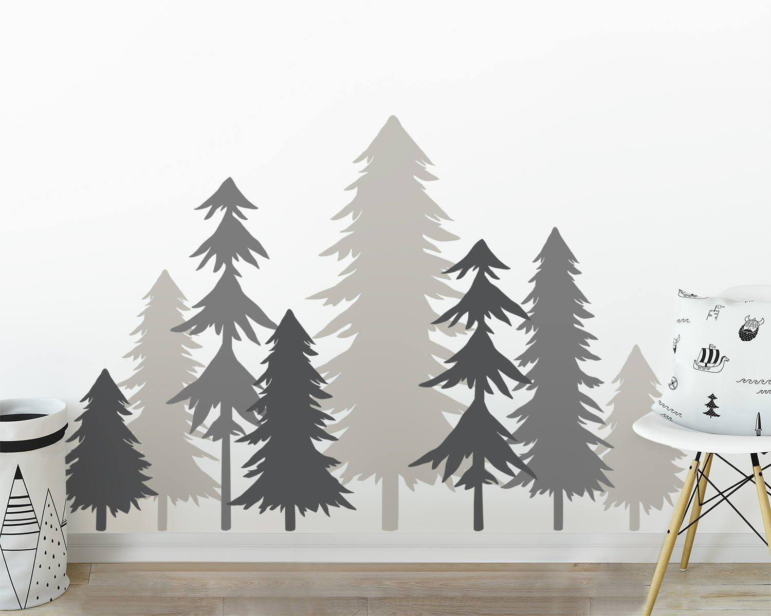 3 Color Pine Tree Forest Wall Decals Tree Wall Decals Forest Mural Forest Scene Decals Large Wall Decals Children's Forest Decals Set of 8