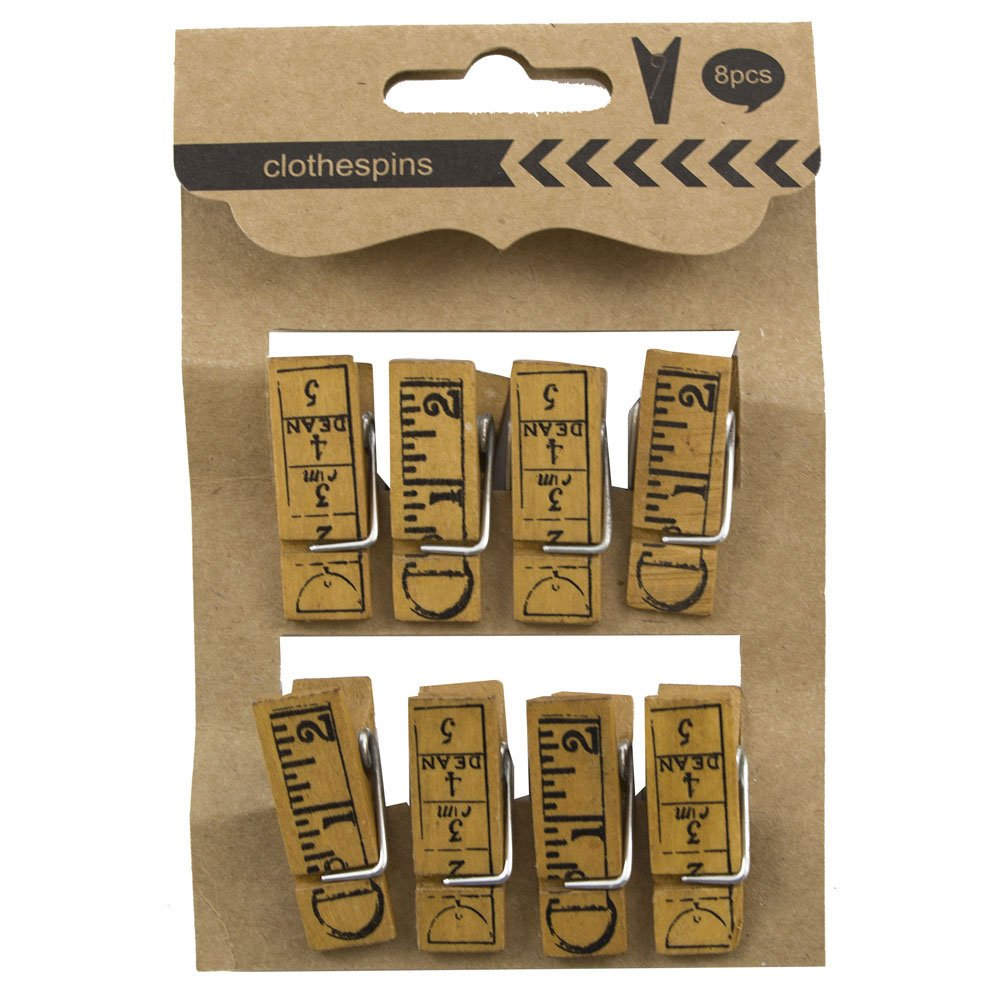 JAM PAPER Wood Clip Clothespins - Large - 1 1/2 - Ruler Design - 8 Clothes Pins/Pack